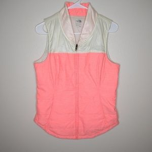 THE NORTH FACE NEON PINK & CREAM IVORY PUFFER VEST